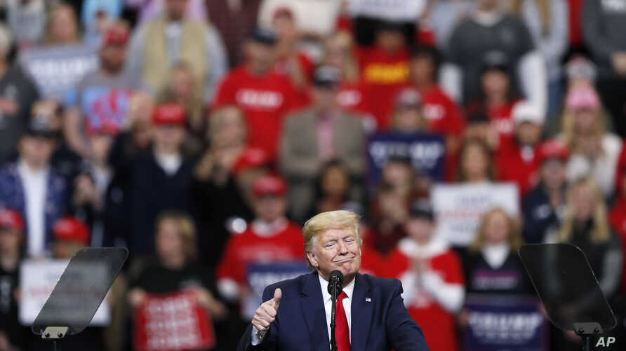 President Donald Trump speaks during a campaign rally at Drake University, Thursday, Jan. 30, 2020, in Des Moines, Iowa. (AP…