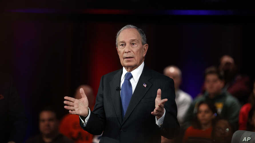 Democratic presidential candidate former New York City Mayor Mike Bloomberg speaks during a FOX News Channel Town Hall, co…