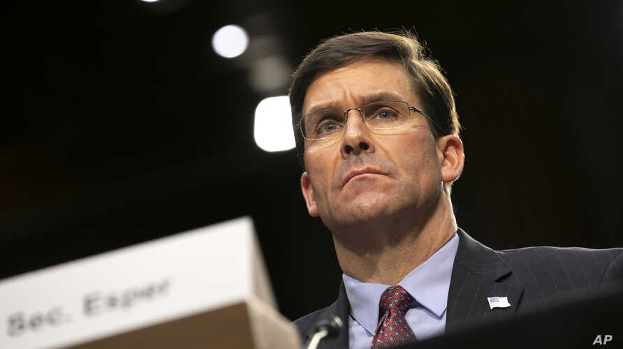 Defense Secretary Mark Esper testifies to the Senate Armed Services Committee about the budget, Wednesday, March 4, 2020, on…