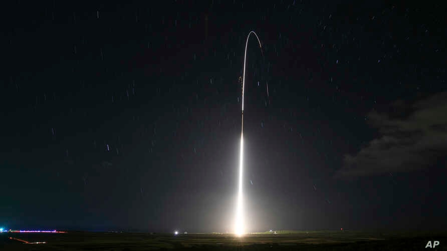 FILE - This Dec. 10, 2018, file photo, provided by the U.S. Missile Defense Agency (MDA),shows the launch of the U.S. military…