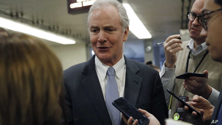 Sen. Chris Van Hollen, D-Md., talks to reporters at the Capitol in Washington, Thursday, Jan. 30, 2020, during the impeachment…