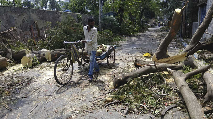 A man pushes his cart past branches of a tree fallen on a road after Cyclone Amphan hit the region in Kolkata, India, Saturday,…
