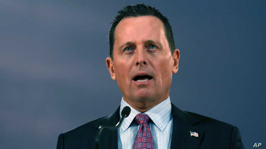 U.S. President Donald Trump's envoy for the Kosovo-Serbia dialogue, Ambassador Richard Grenell speaks during a press conference…