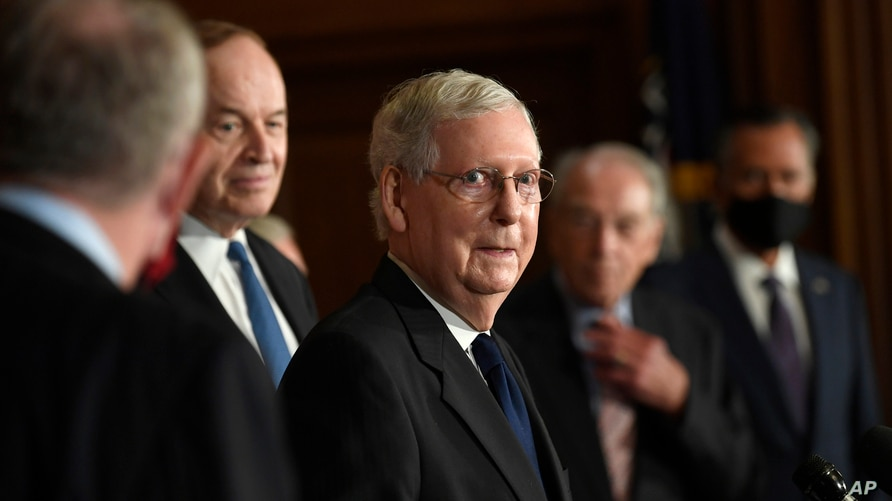 Senate Majority Leader Mitch McConnell of Ky., speaks during a news conference on Capitol Hill in Washington, Monday, July 27,…