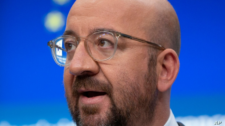 European Council President Charles Michel speaks during a media conference after an EU-Republic of Korea summit in…
