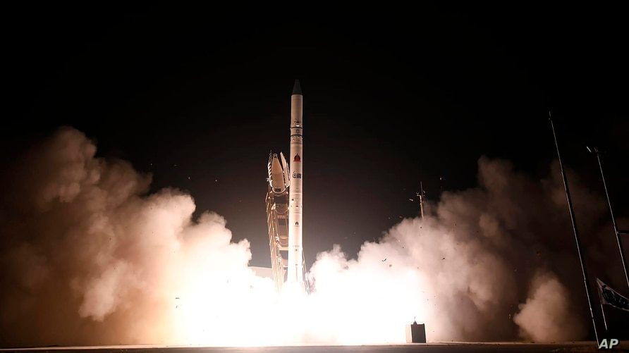 """In this photo released by Israel Ministry of Defense Spokesperson's Office, the """"Ofek 16"""" reconnaissance satellite blasts off…"""