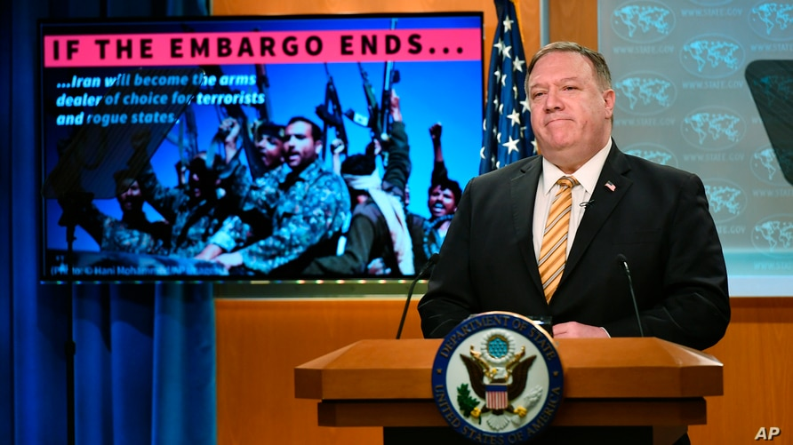 Secretary of State Mike Pompeo speaks during a press conference at the State Department, Wednesday, June 24, 2020 in Washington…