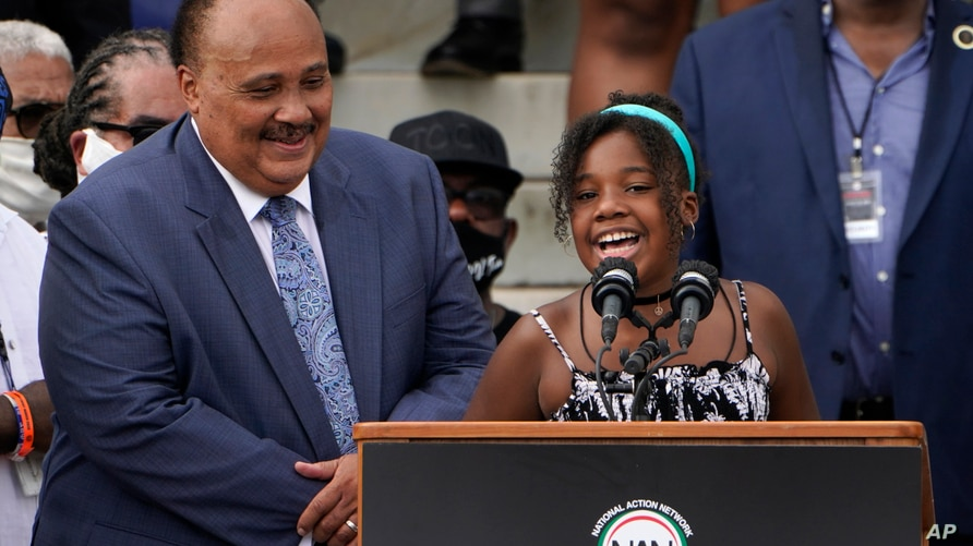 Yolanda Renee King, granddaughter of Martin Luther King Jr., speaks at the March on Washington, Friday Aug. 28, 2020, at the…