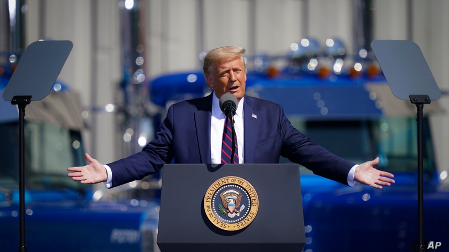 President Donald Trump speaks during a campaign rally at Mariotti Building Products, Thursday, Aug. 20, 2020, in Old Forge, Pa…