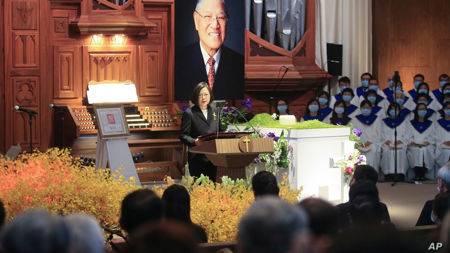 Taiwan President Tsai Ing-wen speaks during a memorial service for the late former Taiwanese President Lee Teng-hui in Taipei,…