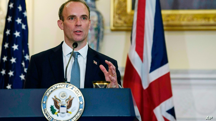 British Foreign Secretary Dominic Raab speaks at a press conference with Secretary of State Mike Pompeo at the State Department…
