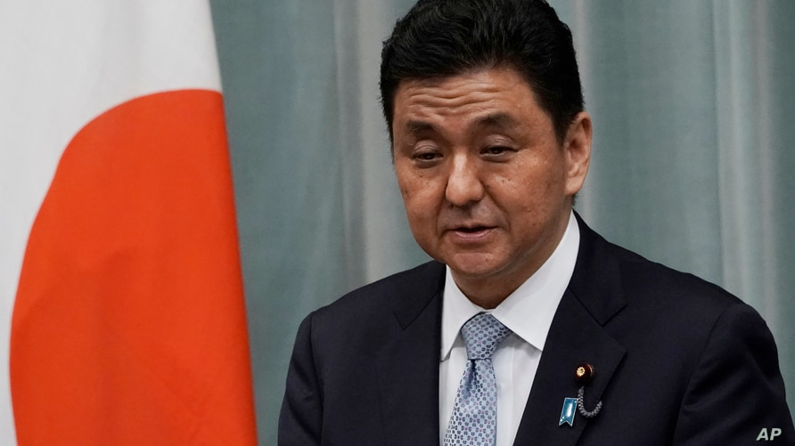 Nobuo Kishi, newly appointed Minister of Defense speaks during a press conference at the prime minister's official residence…