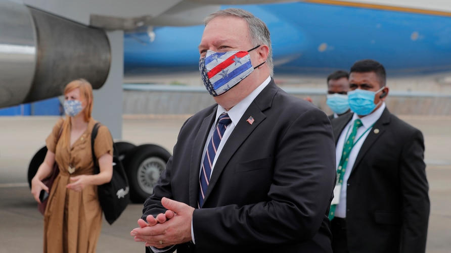 U.S. Secretary of State Mike Pompeo walks to board an aircraft to leave for Maldives, in Colombo, Sri Lanka, Wednesday, Oct. 28…