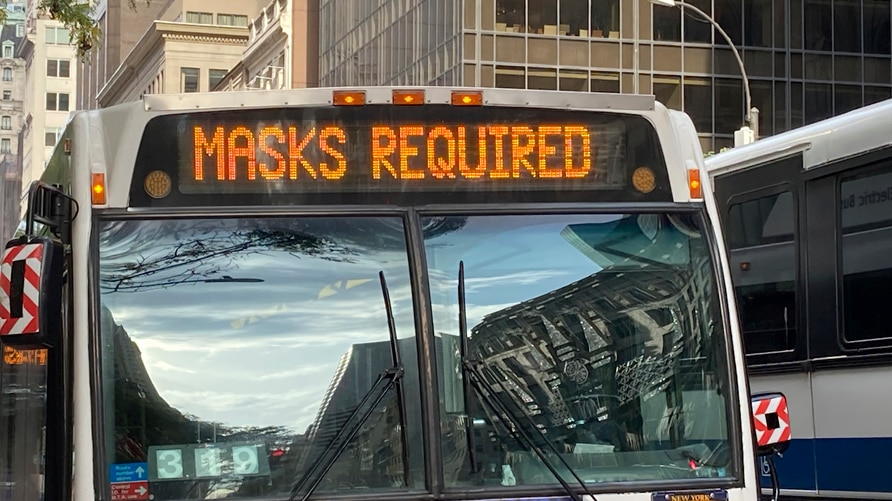 Photo by: STRF/STAR MAX/IPx 2020 11/3/20 An MTA Bus is seen with an electronic banner stating 'Masks Required' during the…