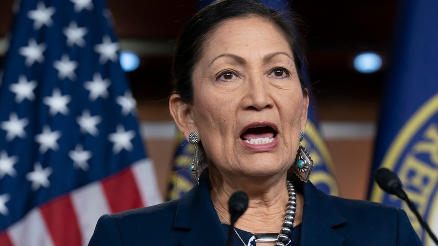 FILE - In this March 5, 2020, file photo Rep. Deb Haaland, D-N.M., Native American Caucus co-chair, speaks to reporters about…