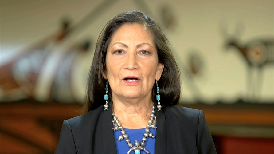 In this image from video, Rep. Deb. Haaland, D-N.M., speaks during the fourth night of the Democratic National Convention on…
