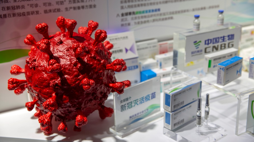 A model of a coronavirus is displayed next to boxes for COVID-19 vaccines at an exhibit by Chinese pharmaceutical firm…