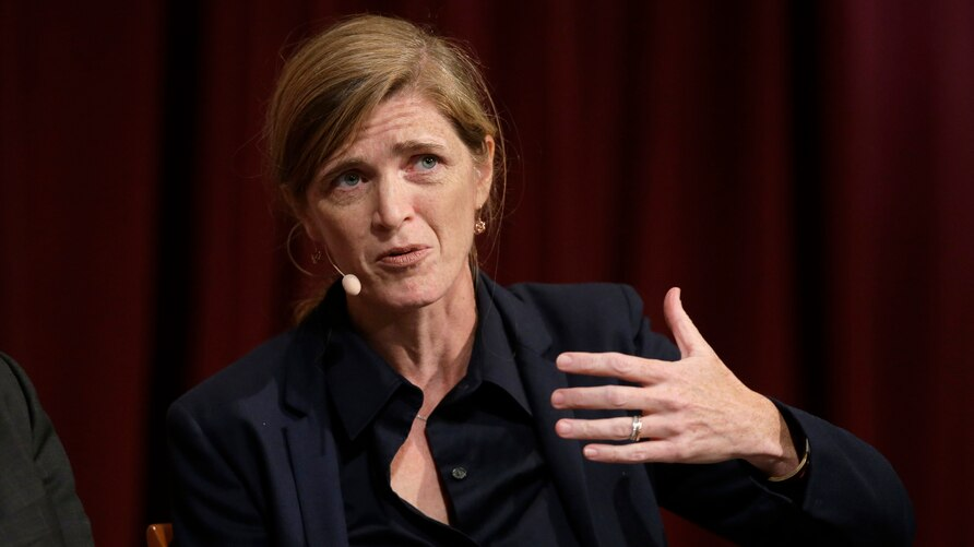 FILE - In this Oct. 16, 2017 file photo, Harvard professor Samantha Power, former U.S. Ambassador to the United Nations,…