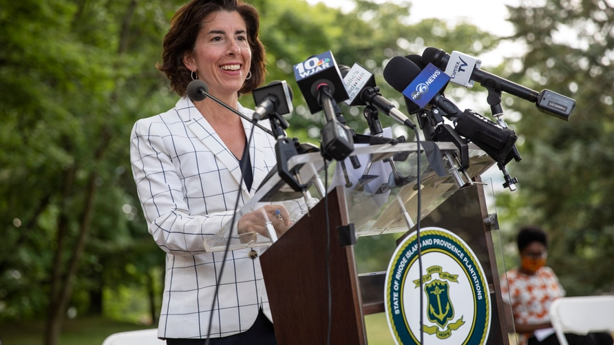 Gov. Gina Raimondo speaks at a news conference where she announced that she has signed an executive order to remove the phrase …