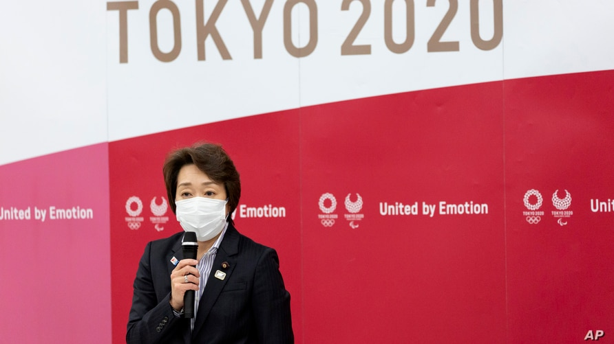 Seiko Hashimoto, president of the Tokyo 2020 Olympics Organizing Committee speaks during the Tokyo 2020 Executive Board meeting…