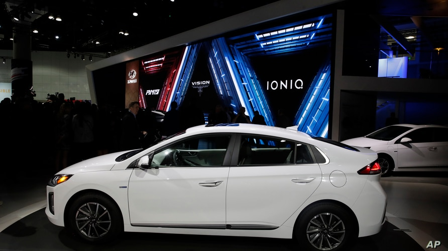 The Hyundai Ioniq electric car is shown at the Automobility LA Auto Show Wednesday, Nov. 20, 2019, in Los Angeles. (AP Photo…