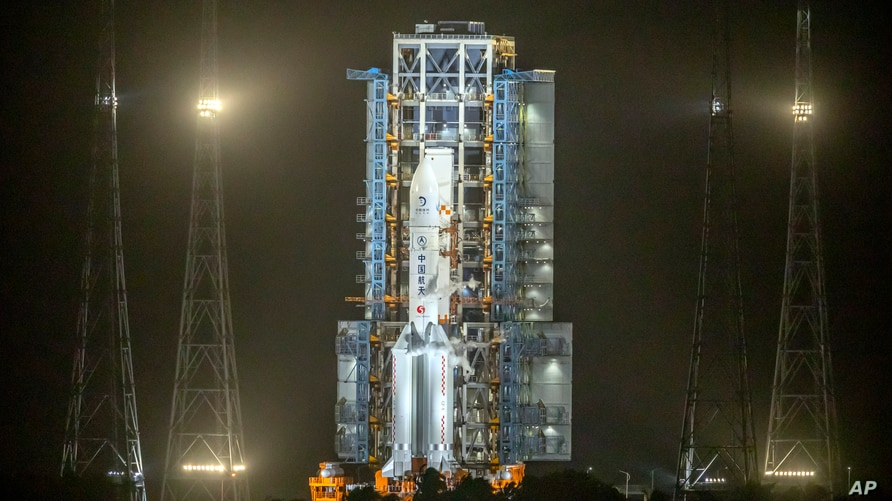 A Long March-5 rocket sits on the launch pad at the Wenchang Space Launch Center in Wenchang in southern China's Hainan…