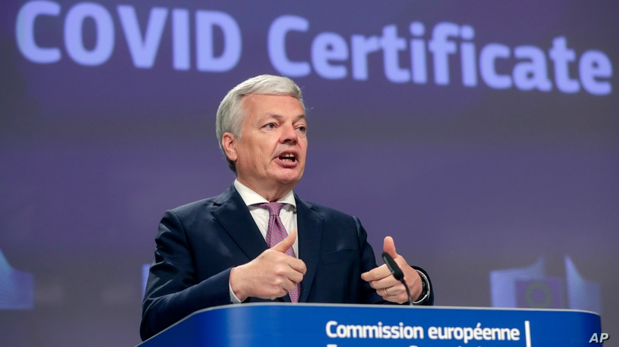 European Commissioner for Justice Didier Reynders speaks during a media conference on the COVID Certificate at EU headquarters…