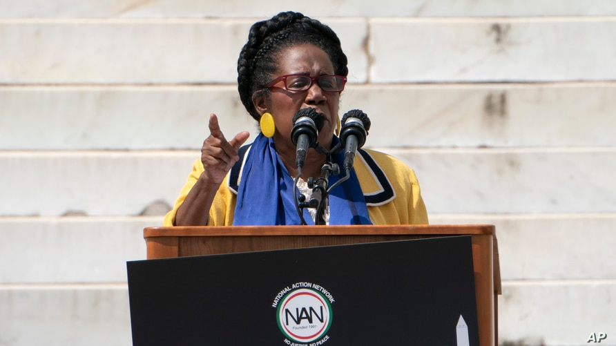 Rep. Sheila Jackson Lee, D-Texas, speaks during the March on Washington, Friday Aug. 28, 2020, at the Lincoln Memorial in…