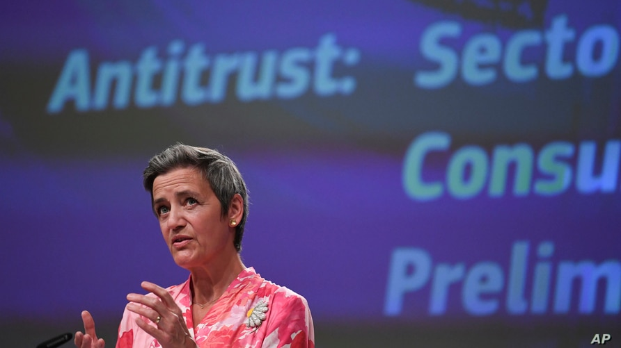 European Commissioner for Europe fit for the Digital Age Margrethe Vestager speaks during a media conference on a competition…