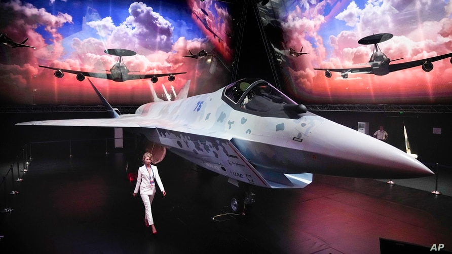 A prototype of Russia's prospective fighter jet is displayed at the MAKS-2021 International Aviation and Space Salon in…