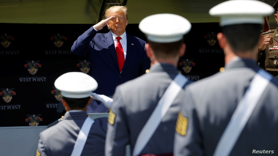 U.S. President Donald Trump delivers commencement address at the 2020 United States Military Academy Graduation Ceremony at West Point, New York