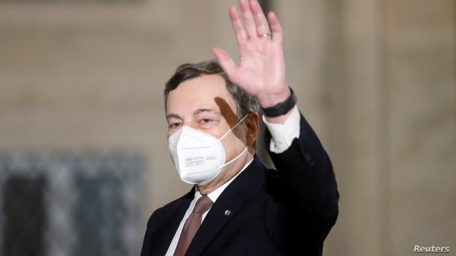 Incoming Italian Prime Minister Mario Draghi leaves after a meeting with Italian President Sergio Mattarella in Rome