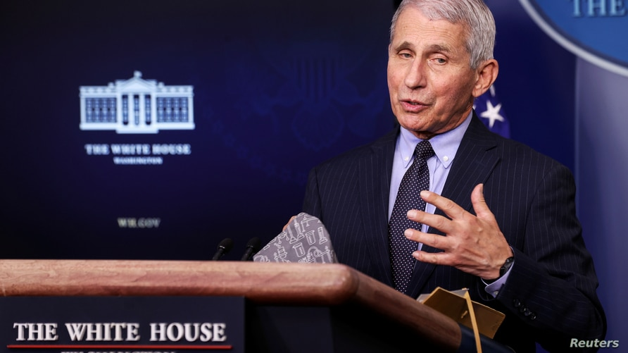 FILE PHOTO: Fauci addresses the daily press briefing at the White House in Washington