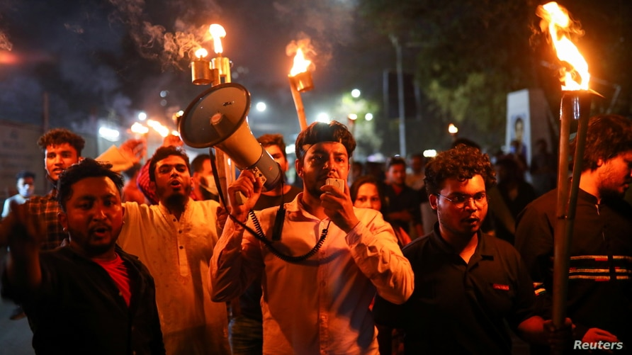 Torch procession protest in Dhaka