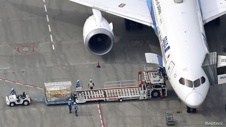 An aerial view shows an All Nippon Airways plane, carrying the first batch of the coronavirus disease (COVID-19) vaccine arrives in Narita, Japan