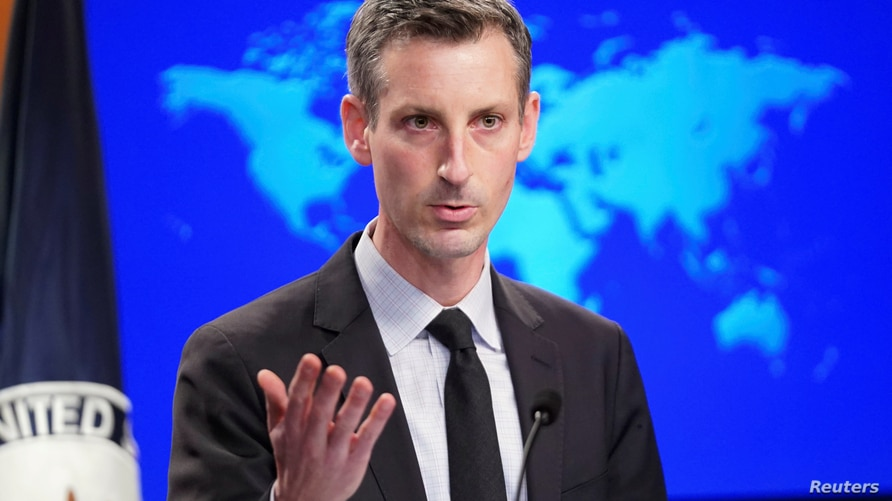 FILE PHOTO: U.S. State Department Spokesman Ned Price holds news briefing at State Department in Washington