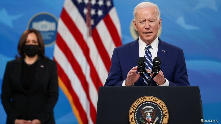 U.S. President Biden delivers remarks after meeting with his Covid-19 Response Team at the White House campus in Washington