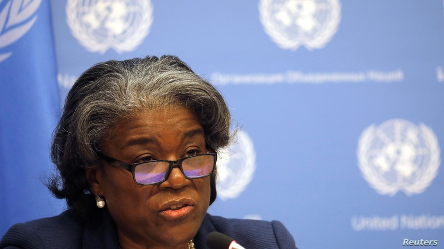 New U.S. Ambassador to United Nations, Linda Thomas-Greenfield holds a news conference in New York