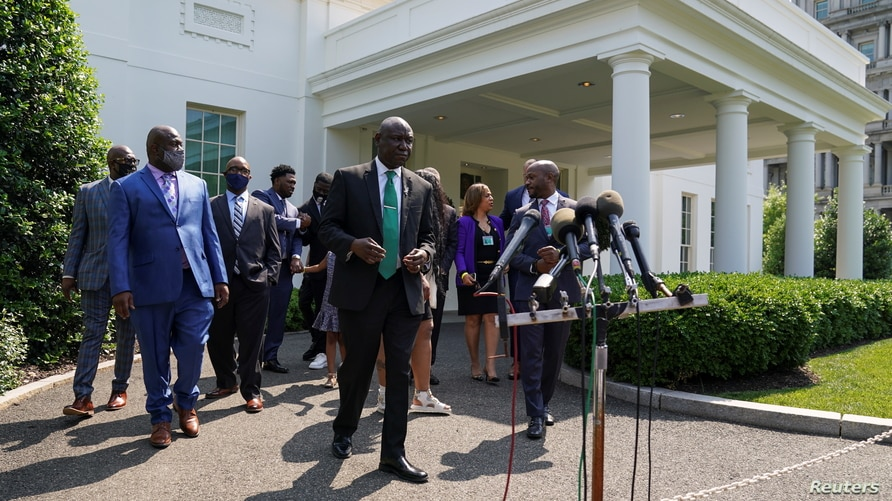 Floyd family after their meeting with President Biden at the White House in Washington