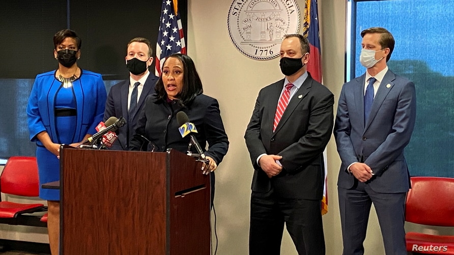 Fulton County District Attorney Fani Willis announces she will seek the death penalty in the Atlanta area spa shootings at a news conference in Atlanta