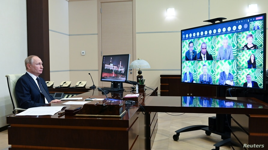 Russian President Putin attends APEC summit virtually at the Novo-Ogaryovo state residence outside Moscow