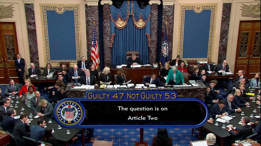 U.S. senators cast their votes on the second article of impeachment obstruction of Congress during the final votes in the…