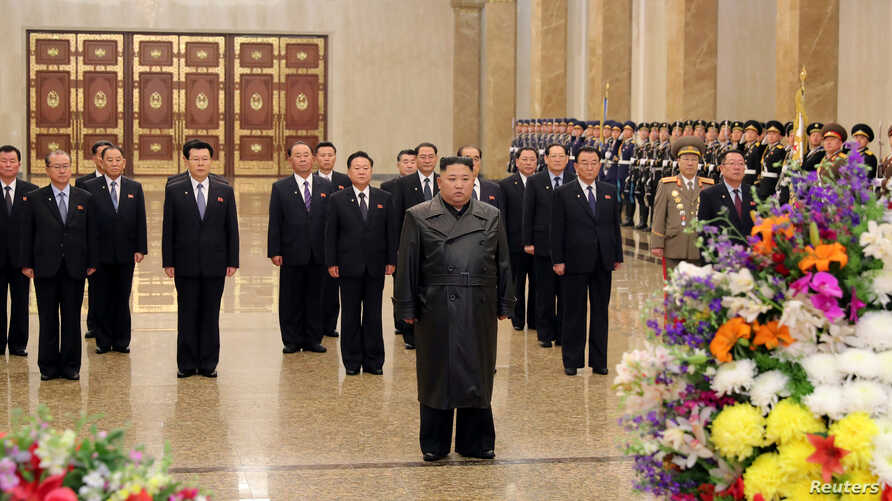North Korean leader Kim Jong Un visits his father and former leader Kim Jong Il's mausoleum to mark the anniversary of the late…