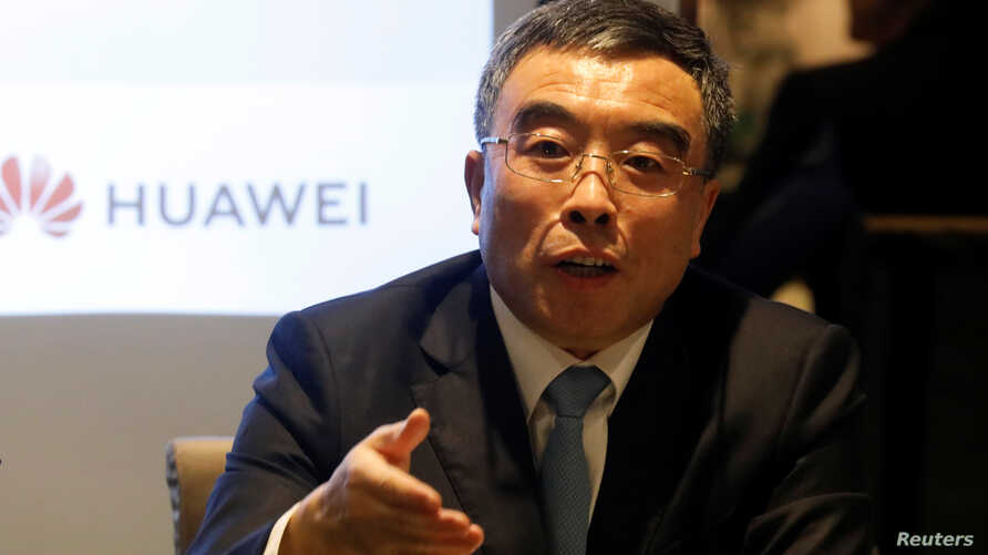 Huawei Technologies Co Ltd Chairman Liang Hua speaks during a news conference in Paris, France, February 27, 2020. REUTERS…