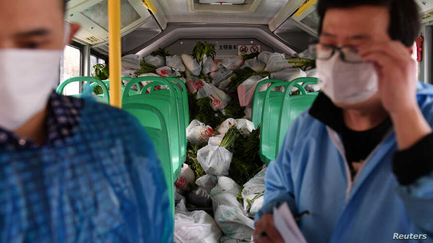 Workers wearing face masks check bags of groceries to be delivered to residents, inside a bus in Wuhan, the epicentre of the…