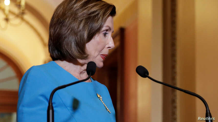 U.S. House Speaker Nancy Pelosi (D-CA) turns to leave after delivering a statement on a coronavirus economic aid package ahead…