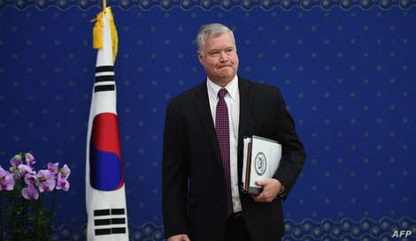 US special representative for North Korea Stephen Biegun waits before a meeting with South Korean Foreign Minister Kang Kyung…