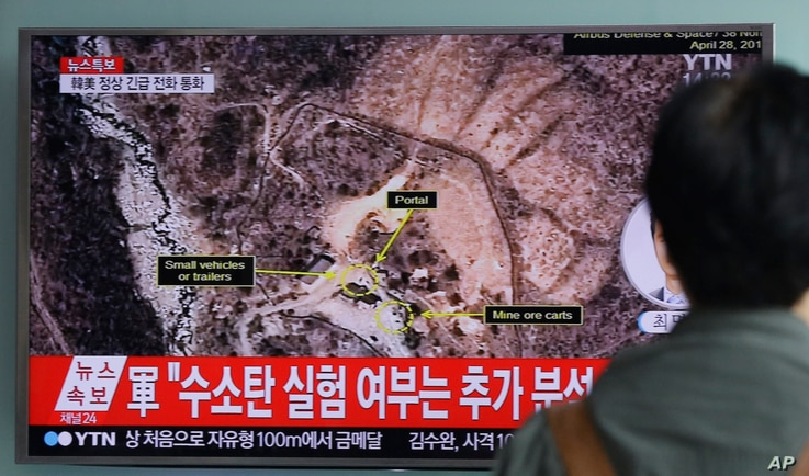 FILE - In this Sept. 9, 2016, photo, a man watches a TV news program reporting North Korea's nuclear test at Seoul Railway Station in Seoul, South Korea. North Korea has conducted five nuclear tests at its Punggye-ri site, the first in 2006.