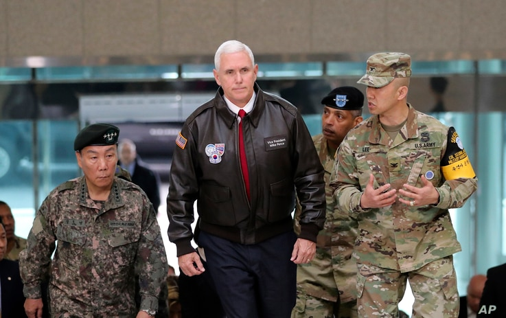 FILE - U.S. Vice President Mike Pence arrives at the border village of Panmunjom in the Demilitarized Zone, which has separated the two Koreas since the Korean War, South Korea, April 17, 2017.