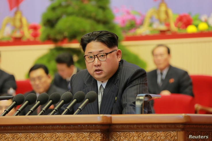 North Korean leader Kim Jong Un speaks at the Seventh Congress of the Workers' Party of Korea in this undated photo released by North Korea's Korean Central News Agency.